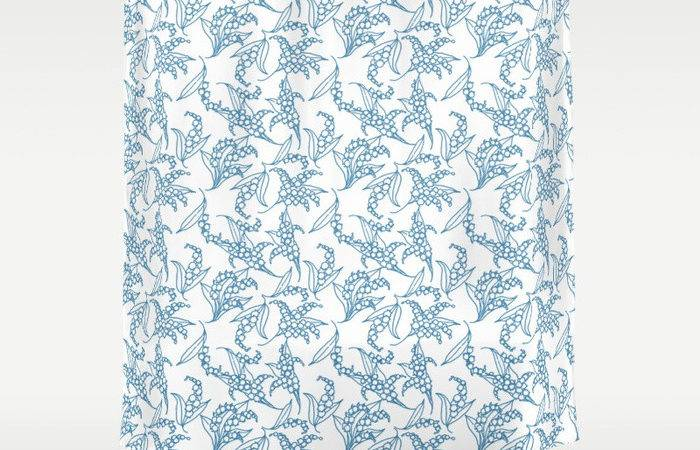 Vintage Style Lily Valley Pattern Shower Curtain