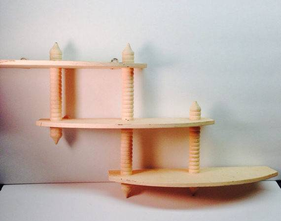 Vintage Tier Shelf Wooden Spindle Knick Knack Curio Wall