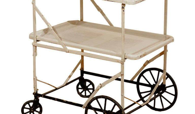 Vintage White Rolling Apothecary Cart Trolley Stdibs