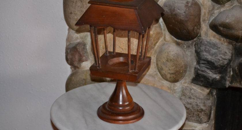Vintage Wood Candle Holder Lantern Hurricane Colonial Style