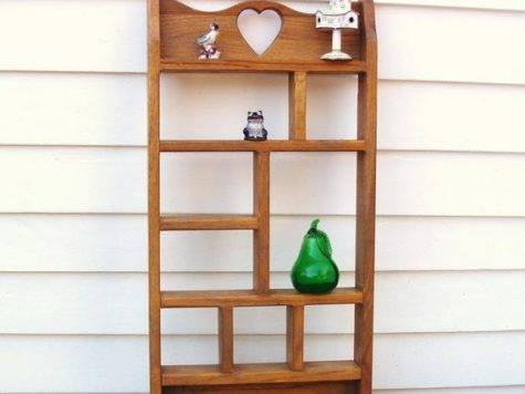 Vintage Wooden Knick Knack Shelf Wall Mounted Display