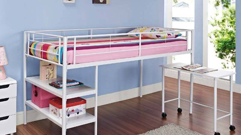 Walker Edison Metal Twin Low Loft Bed Desk