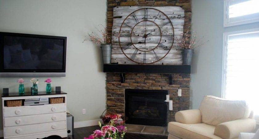 Wall Clock Above Fireplace Living Space Clocks
