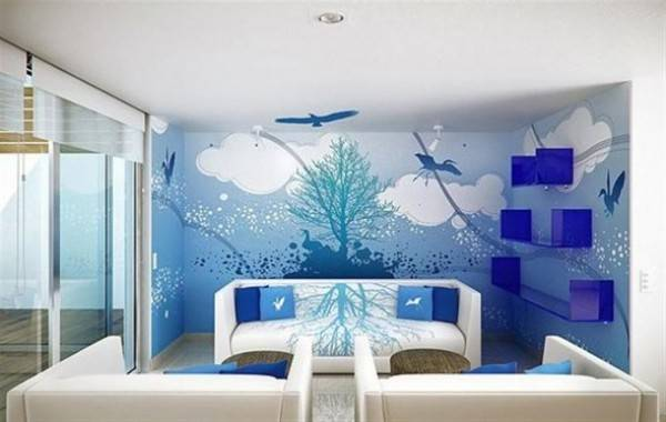 Wall Decor Ideas Blue Painting Living Room