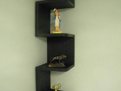 Wall Mounted Corner Shelf Retro Black Customwoodconcepts