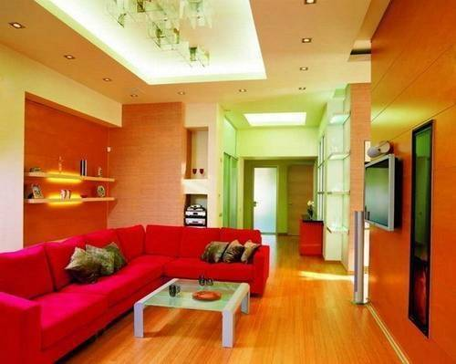 Wall Paint Color Red Couch Interior Design