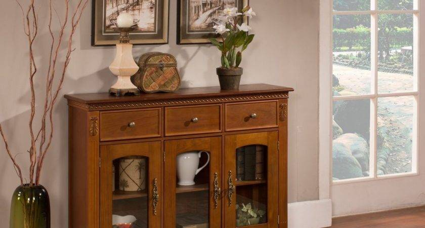 Walnut Finish Wood Glass Doors Console Sideboard