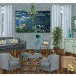 Waterlily Peacock Inspired Living Room