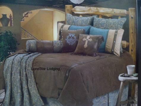 Western Rustic Lodge Turquoise Tooled Paisley Comforter