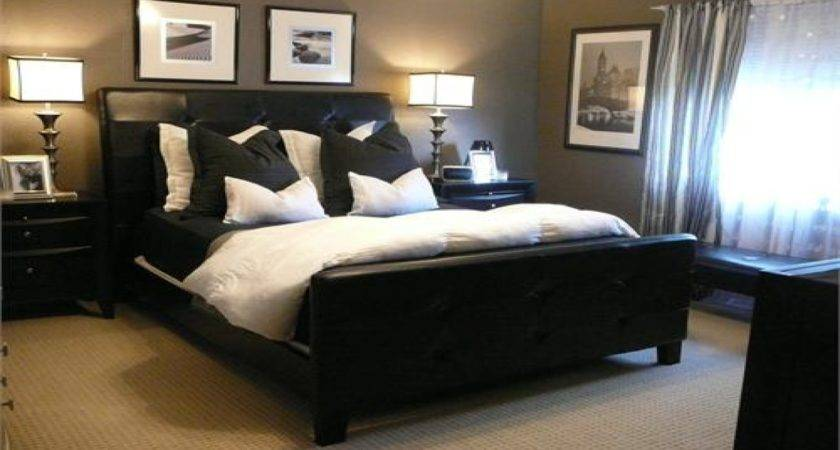 White Bedding Black Trim Brown Bedroom