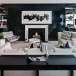 White Black Living Room Contemporary