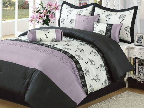 White Black Purple Pieced Floral Embroidered