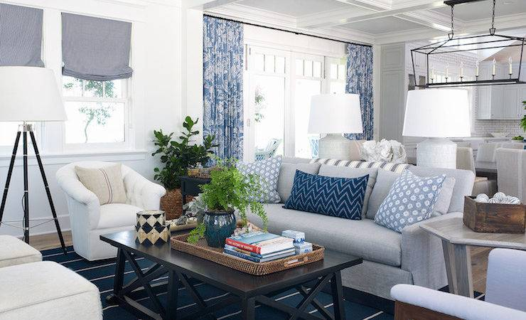 White Blue Coastal Living Room Design Ideas