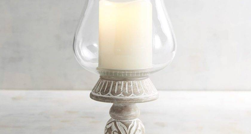 White Carved Wood Hurricane Candle Holder Pier Imports