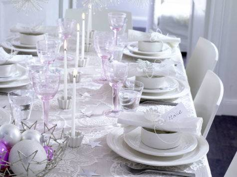 White Christmas Table Decorating Interior Design Files