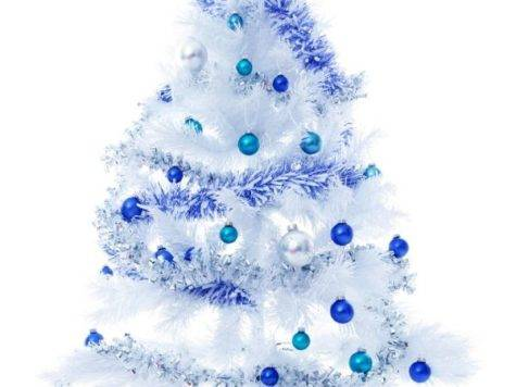 White Christmas Tree Blue Decor