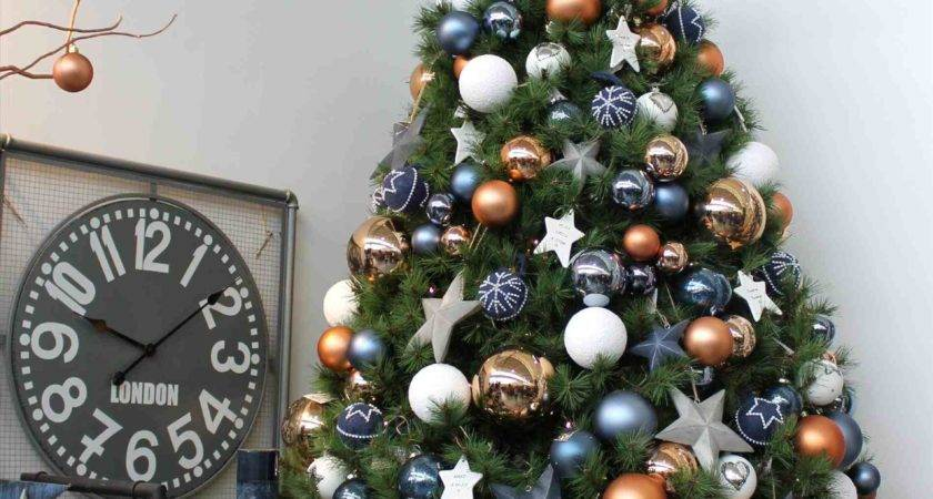 White Christmas Tree Blue Gold Decorations