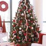 White Christmas Tree Red Black Decorations