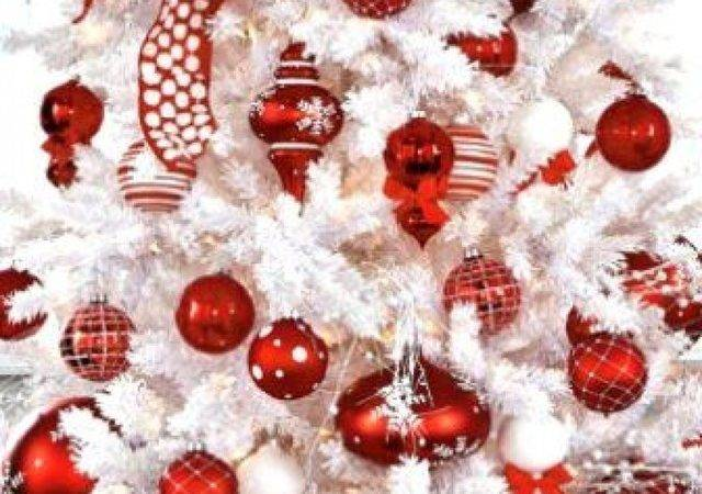 White Christmas Tree Red Decorations Designcorner