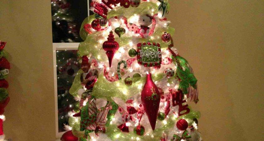 White Christmas Tree Red Green Decorations