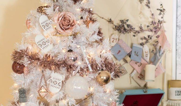 White Christmas Tree Stylish Rose Gold Pink