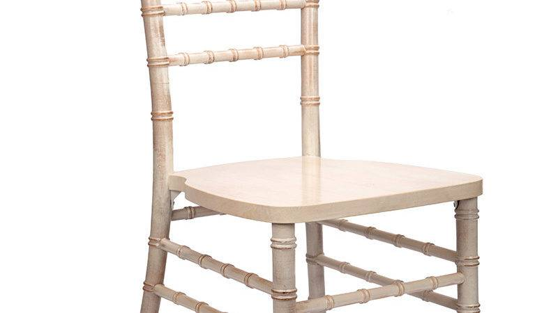 White Distressed Wood Stacking Chiavari Chair