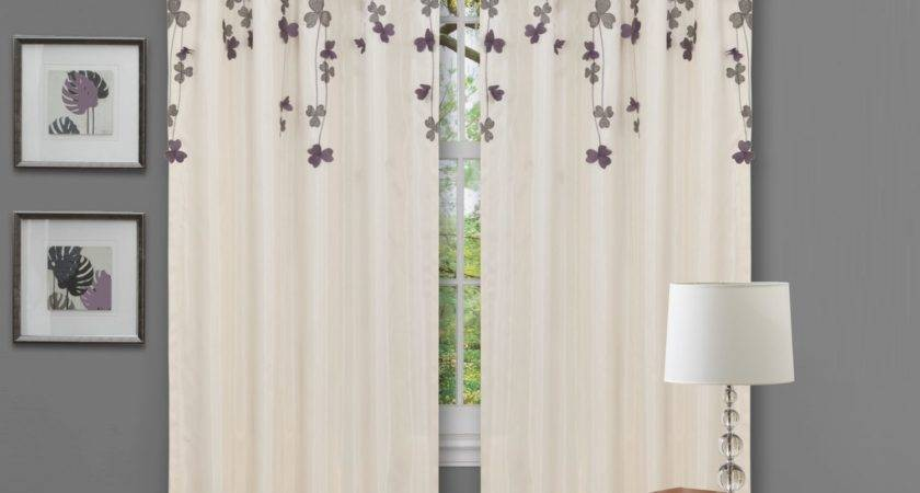 White Fabric Window Curtains Dark Purple Blossom