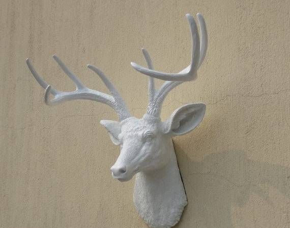 White Faux Deer Head Resin Wall Decor