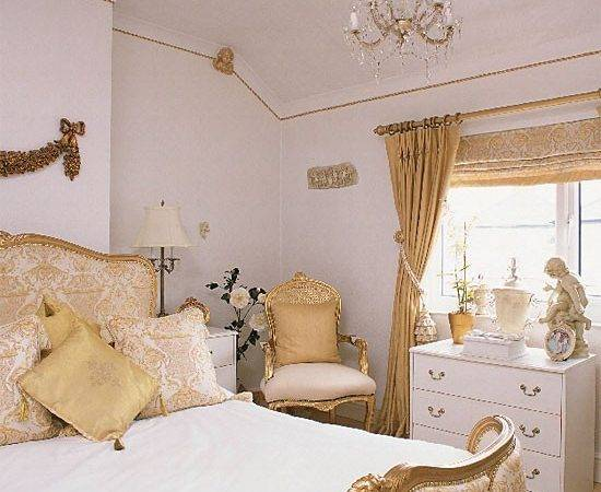 White Gold Bedroom Design Decorating Ideas