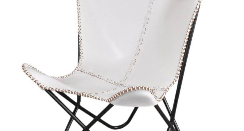 White Leather Butterfly Chair Overstock Shopping