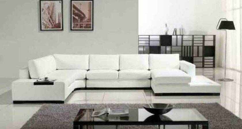 White Leather Shaped Sofa Bed