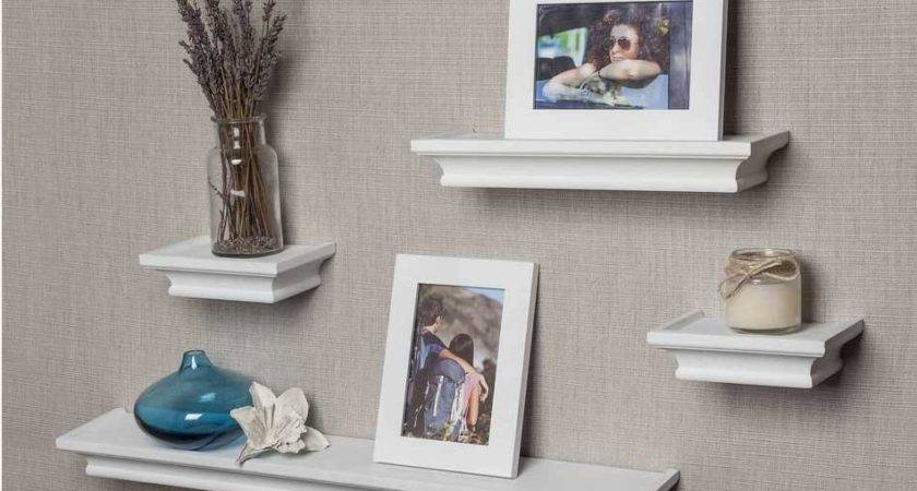 White Ledge Shelf Set Floating Design Ideas Home