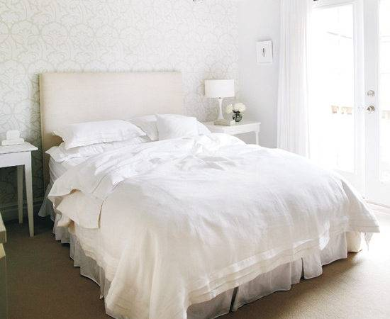 White Linen Bedding Traditional Bedroom Style Home