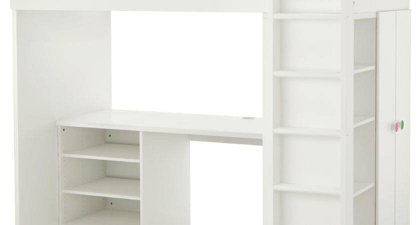 White Loft Bed Desk Bunk Beds Ikea