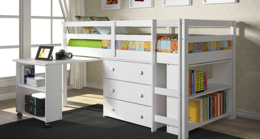 White Loft Bed Pull Out Desk Chest Drawer Also