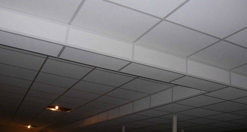 White Painted Basement Ceiling Tiles Low