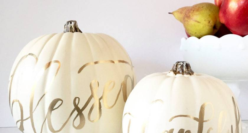 White Pumpkin Fall Decor Calligraphy