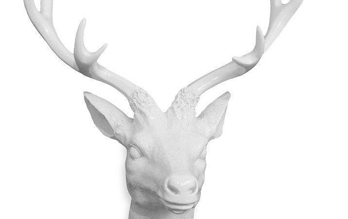 White Resin Deer Head Stag Gloss Outdoor Hunting