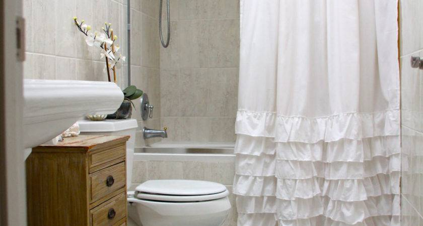 White Ruffled Shower Curtain Standard