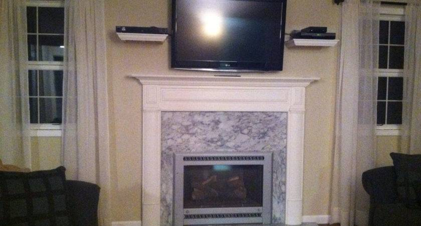 White Shelf Connected Gray Marble Fireplace Also