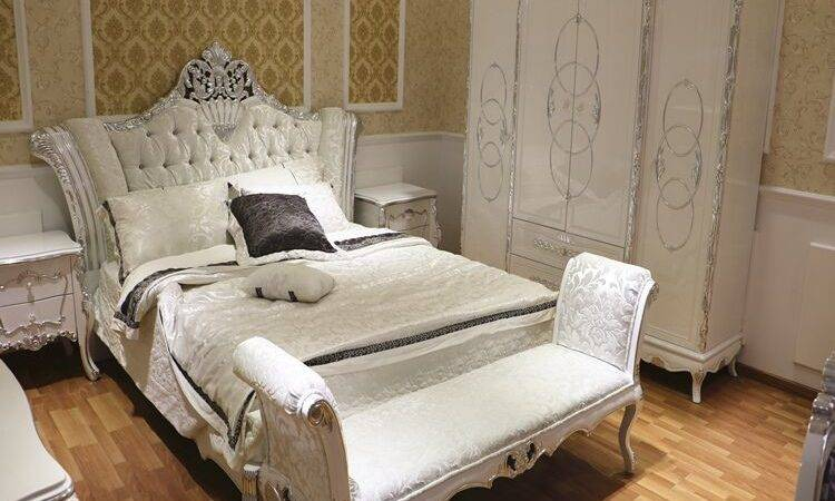 White Silver Leaf European French Bedroom Furniture Queen