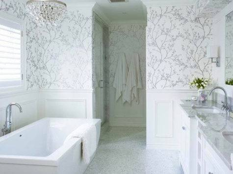 White Silver Transitional Bathroom