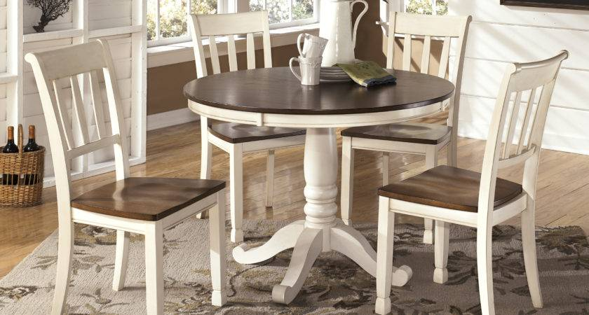 Whitesburg Cottage Style Two Tone Round Dining Table