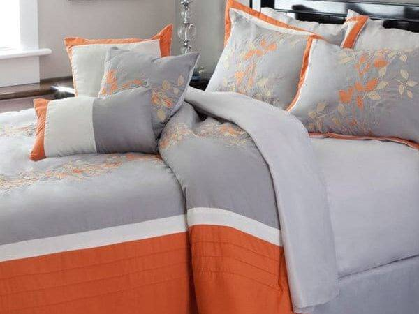 Windsor Home Gray Orange Embroidered Piece Comforter
