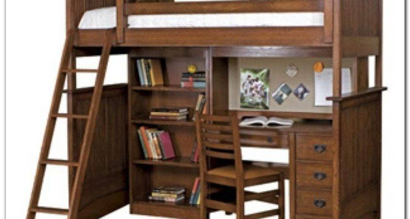 Wood Bunk Bed Desk Drawers Interior