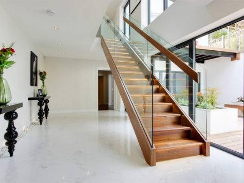 Wood Glass Contemporary Staircase Designs Home