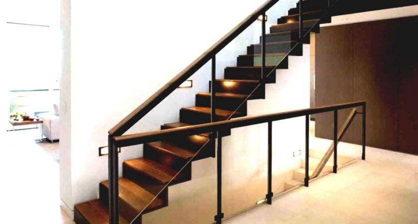 Wood Glass Staircase Railing Designs Modern Home