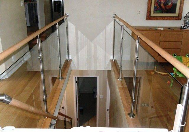 Wood Stairs Stainless Steel Glass Railings