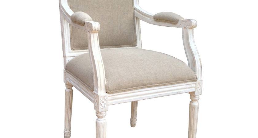 Wooden Arm Chair White Distressed Finish Natural Linen