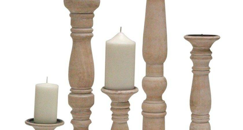 Wooden Carved Church Pillar Candle Holder White Washed